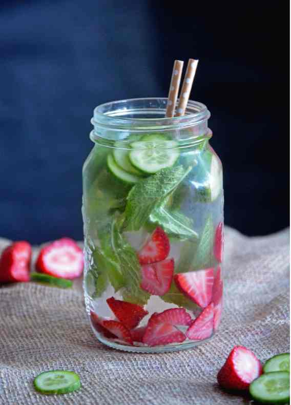Strawberry, Cucumber Mint infused water