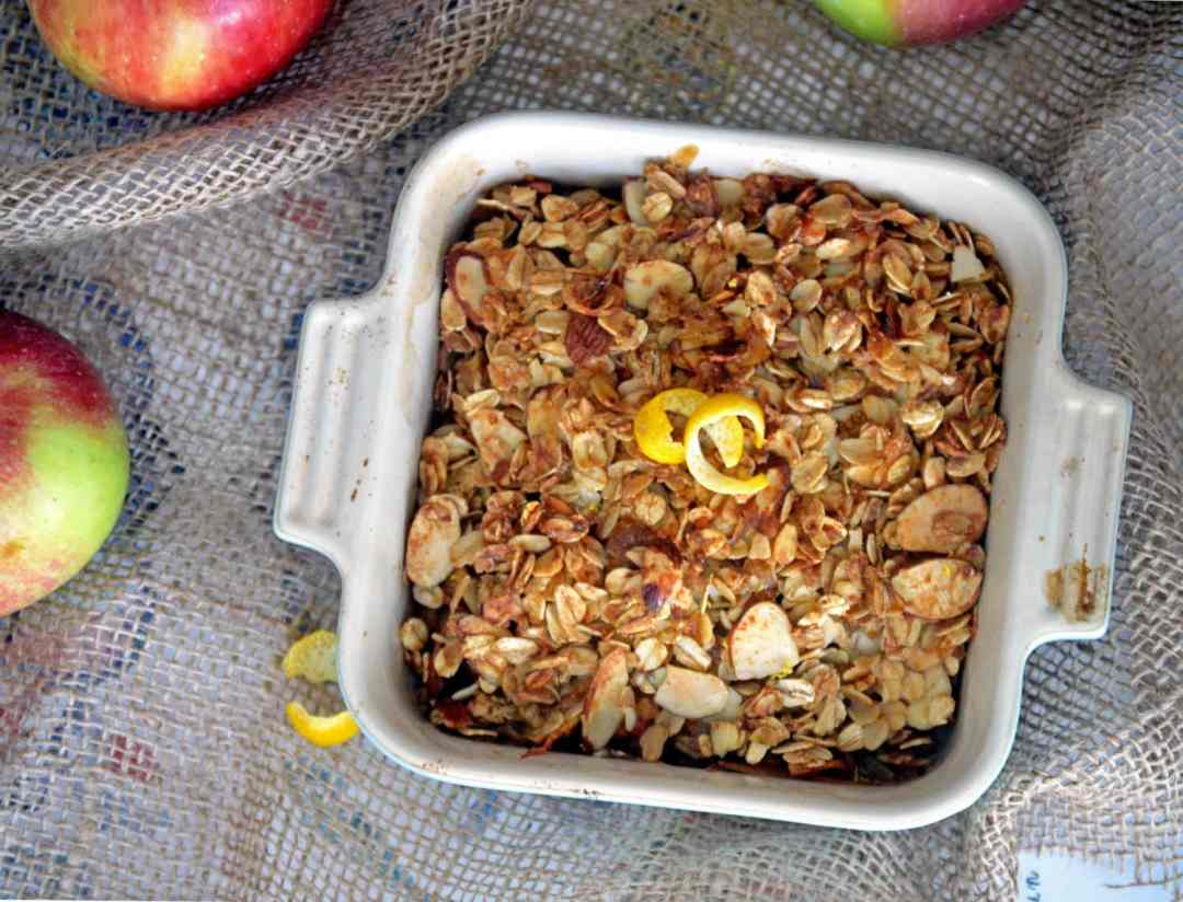 Recipe for healthier apple & pear crisp. Vegan & Gluten-free