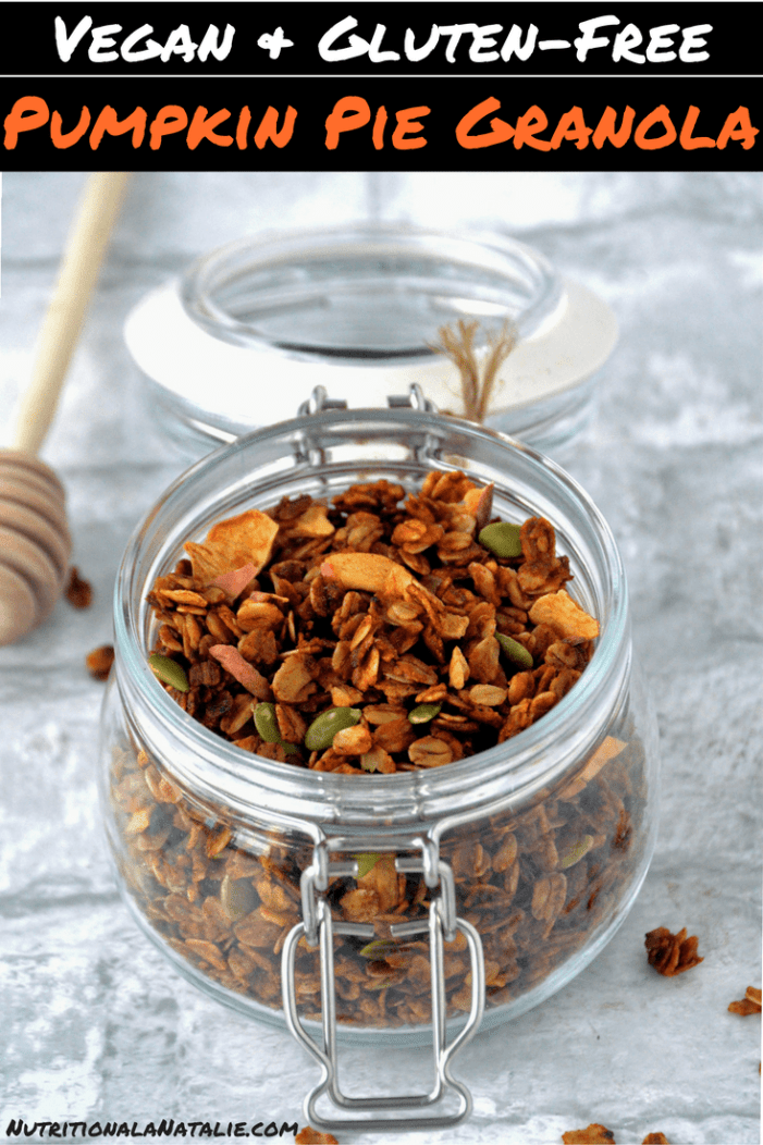 The BEST pumpkin spiced granola! It's a vegan, gluten-free and low sugar granola recipe that will make your entire house smell like cinnamon! #pumpkin #pumpkinrecipe #vegan #veganrecipe #healthyrecipe