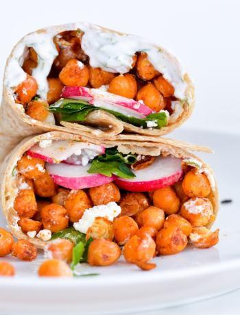 Vegetarian chickpea wrap