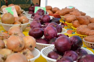 Onions and sweet potatoes