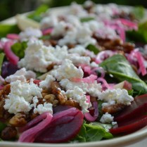 Spinach Salad with Pickled Beets, Red Onions, Candied Pecans and Goats Cheese