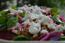 Spinach Salad w/Candied Pecans, Pickled Beets & Goats Cheese