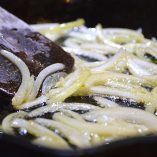 Onions, browning in olive oil