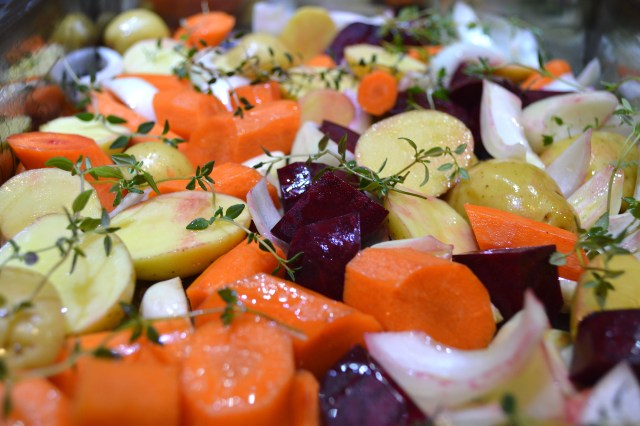 Chopped Vegetables w:Thyme, Olive Oil