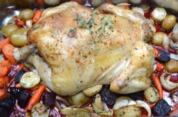 Roasted Chicken with Root Vegetables, Garlic & Fresh Thyme