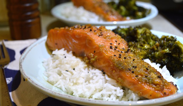 Finished Asian Inspired Salmon Served Over Rice with Asian Flavored Broccoli
