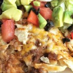 Taco Bake topped with diced tomatoes, avocado, black olives and sour cream from my post titled, 'Just Give Me Tacos and Tell Me I'm Pretty'