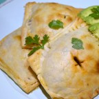 Taco Tarts garnished with avocado and cilantro