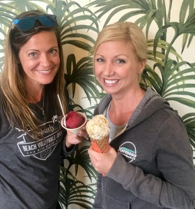 Melissa and me having beet sorbet and almond butter kale caramel plant-based ice cream at Frankie & Jo's, Seattle