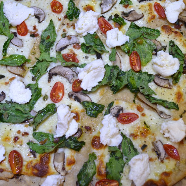 Sourdough Pizza with Baby Bellas, Spinach, Mozzarella, Tomato, Fresh Oregano and Ricotta