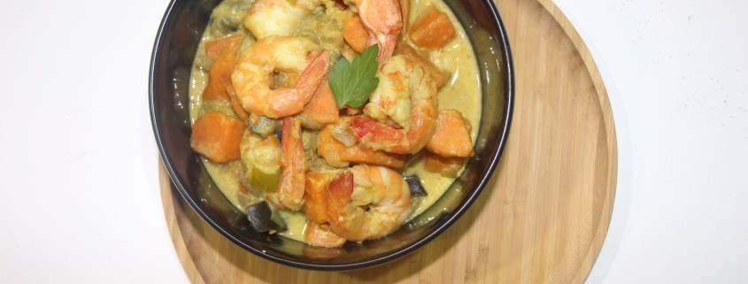 curry de patate douce aux crevettes