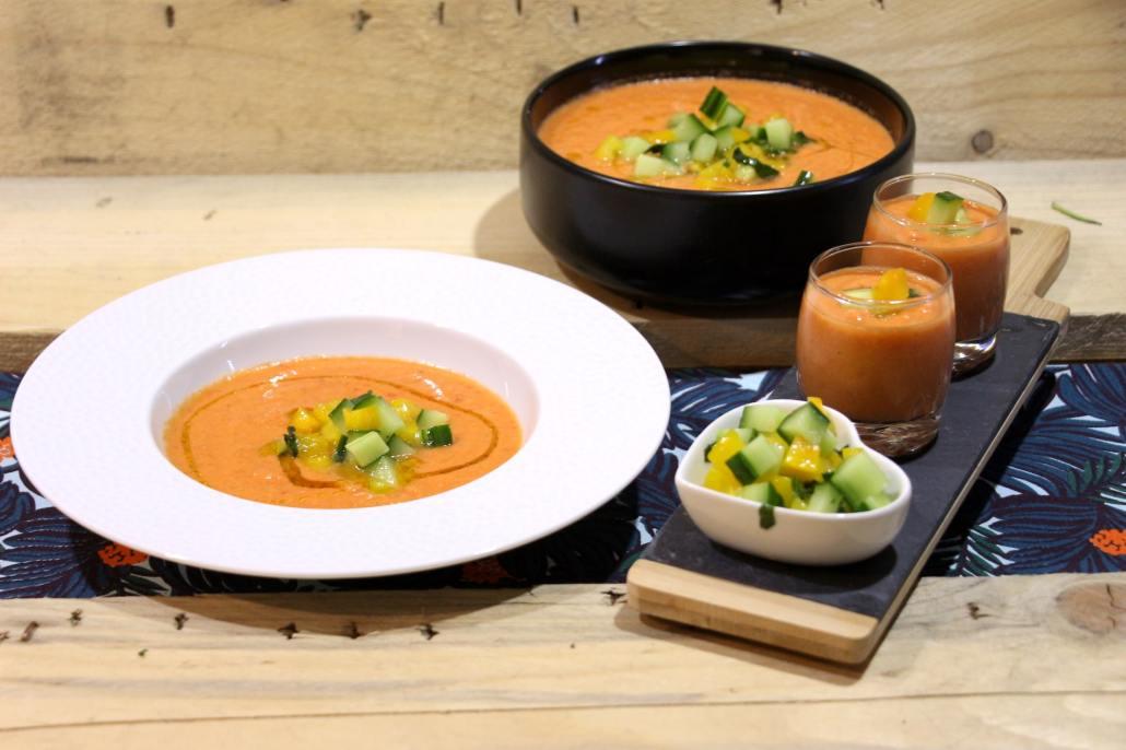 gaspacho de tomate poivron et concombre