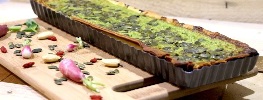 tarte au pesto de fanes de radis