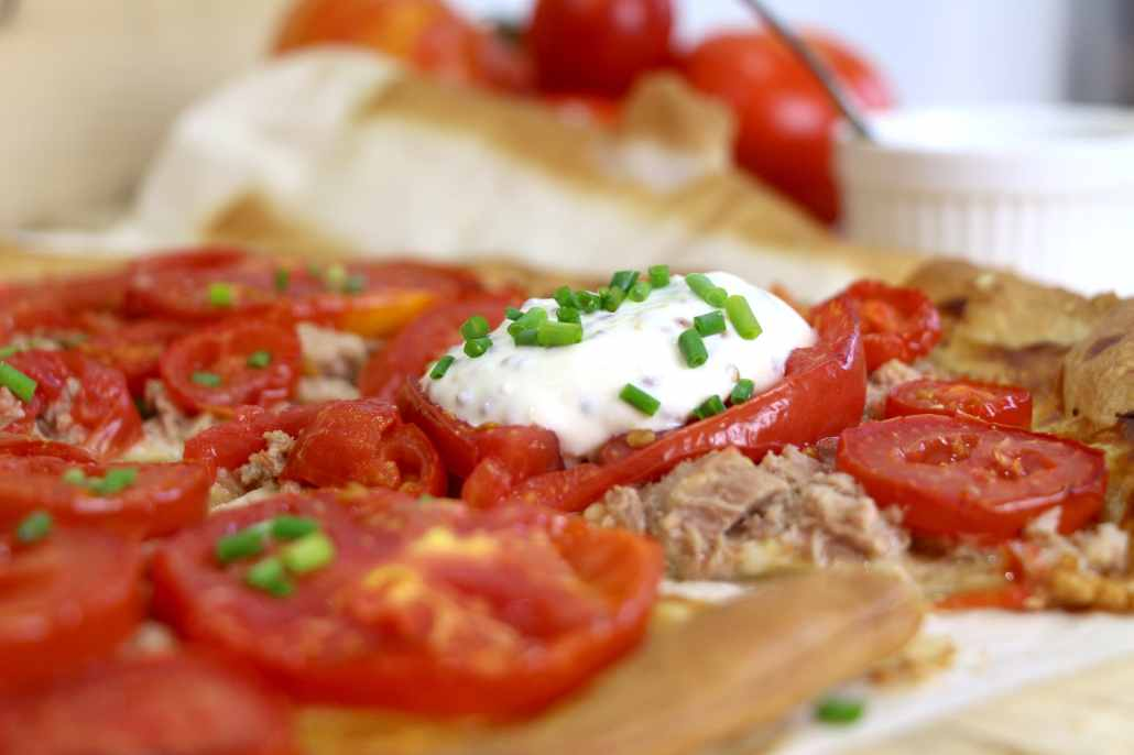 tarte fine au thon et à la tomate