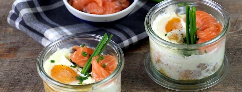 oeufs cocotte au saumon et fromage