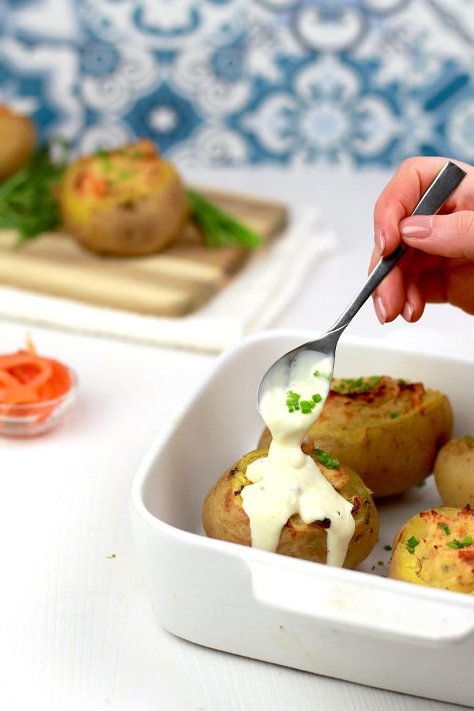 pommes de terre au saumon et fromage