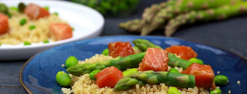 salade de quinoa saumon et fèves