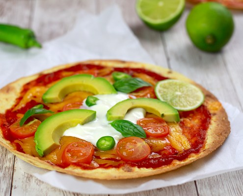 pizza légère au cheddar et avocat