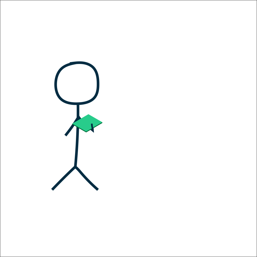 stick figure holding a book