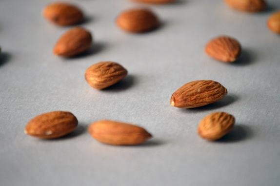 raw almonds close up