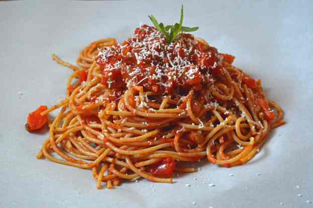 Whole Wheat Spaghetti with Hide Your Veggies %22Meat%22 Sauce