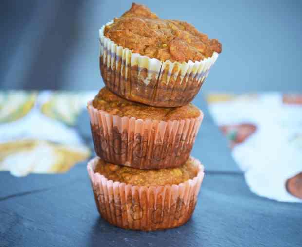 pumpkin apple muffins stacked