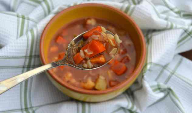 vegetable and rice soup on spoon 2
