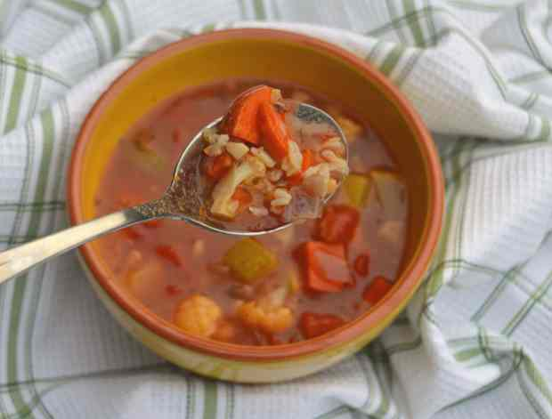 vegetable and rice soup on spoon