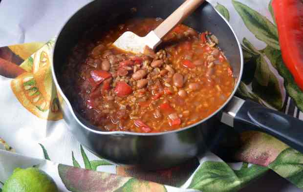 Mexican Rice & Beans in pot