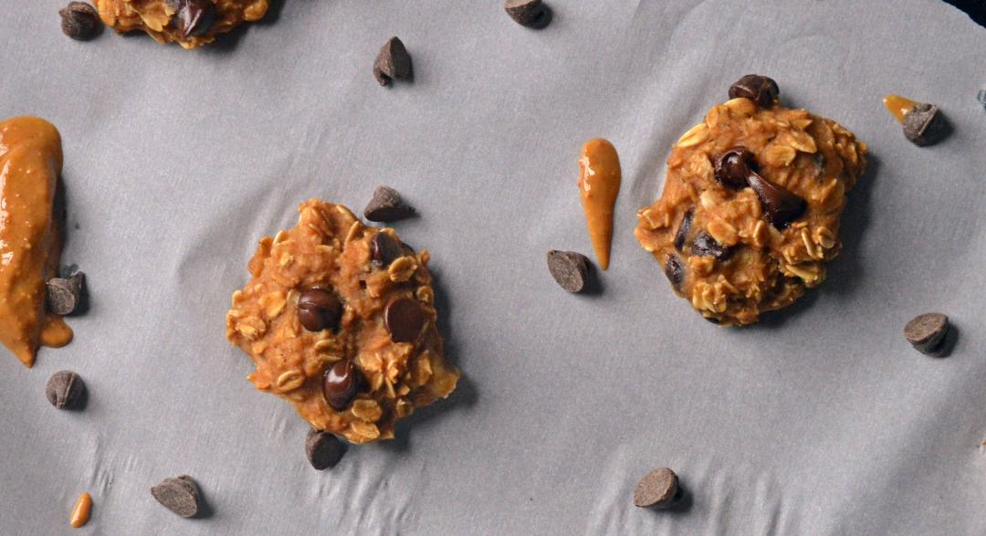 Breakfast Peanut Butter Chocolate Chip Cookies overhead