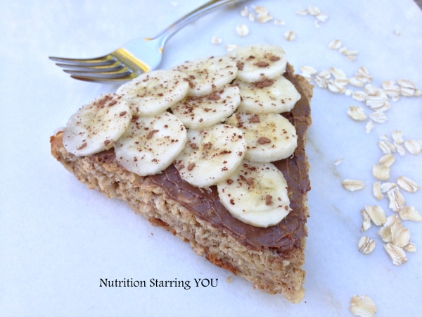 Chocolate Peanut Butter and Banana Oatmeal Breakfast Pie