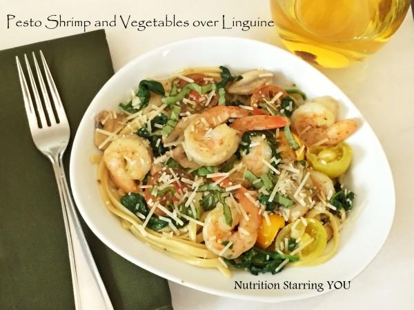 Pesto Shrimp and Veggies over Linguine