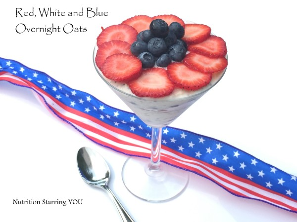 Red, White and Blue Overnight Oats
