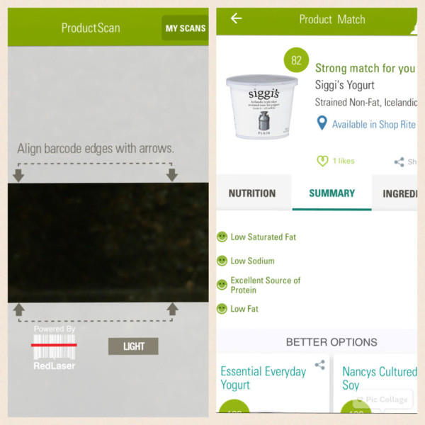 ShopWell scanner feature with Siggi's yogurt