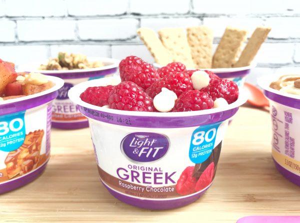Raspberry Chocolate Greek yogurt with raspberries and white chocolate chips