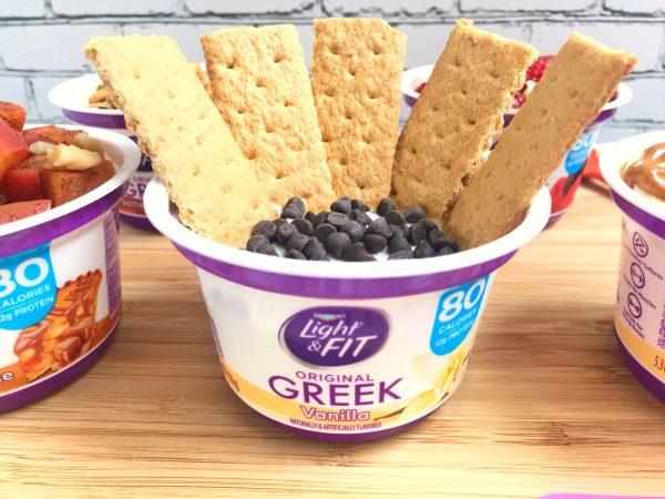 Vanilla Greek yogurt cup with graham crackers and chocolate chips