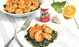 Garlic Shrimp over Sautéed Spinach