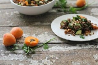 Apricot Almond Quinoa Salad apricots, plated with herbs