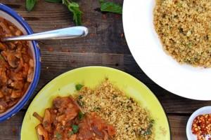 Ginger Coriander Mushroom Sauce Over Minty Garlic Quinoa Recipe