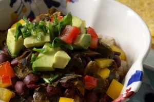 Spicy Black Beans and Greens Over Rice Recipe