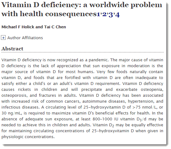 Vitamin D deficiency abstract