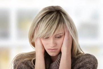 Depressed blonde woman