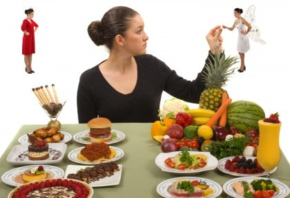 Choosing between healthy and processed foods