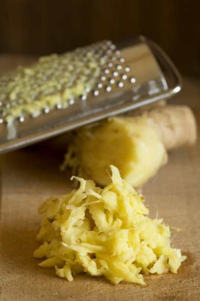 Grated ginger and ginger root