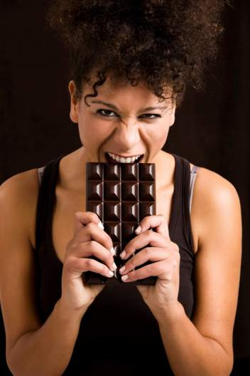 Woman eating chcolate