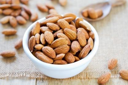 Almonds in a white bowl