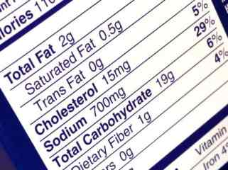 Fat content on a nutritional label