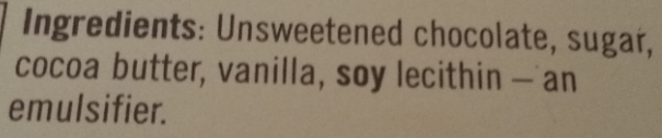 Ghirardelli ingredients