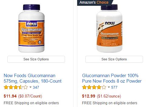 Glucomannan supplements
